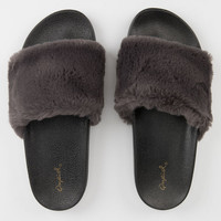 QUPID Faux Fur Charcoal Womens Sandals