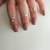 4 Above the Knuckle Rings - Plain Band Knuckle Rings, midi rings with a Sterling silver hamsa hand sign - Set of 4 midi rings, unique gift