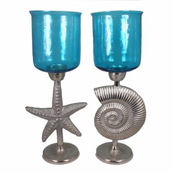 2Piece Hammered Glass Candle Holder On Shell And Starfish Stand, Blue And Silver-EN14239