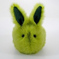 Herb the Garden Bunny Stuffed Toy Green faux fur plushie momma size