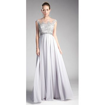 Silver Cap Sleeved Long Formal Dress Illusion with Appliques