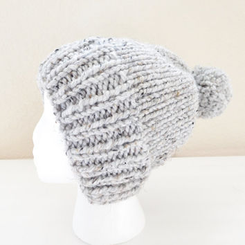 Knit Bulky Pom Pom Beanie - Gray Wool Women's Hat - Grey Slouchy Hat - Slouchy Pom Pom Beanie - Christmas Present for Teen Girls