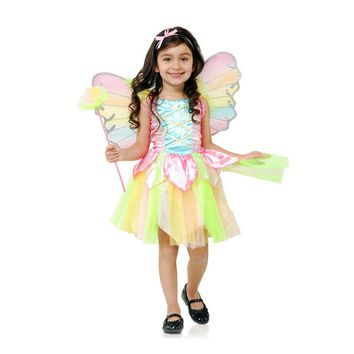 Girl Flower Fairy Rainbow Costume Fantasia Tinker Bell  Kid Cute Butterfly Fairy Cosplay Book Week Party Fancy Dress