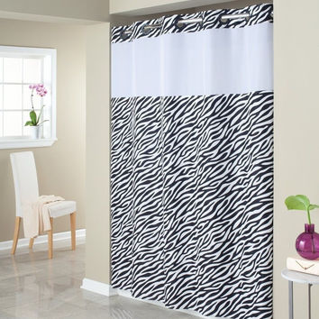 Hookless Fabric Shower Curtain with Built in Liner - Zebra Print
