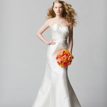 Wtoo by Watters 12815 Strapless Asymmetrical Pleated Bridal Gown