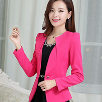 Long Sleeve Double Pocket Single Buttoned Casual Coat