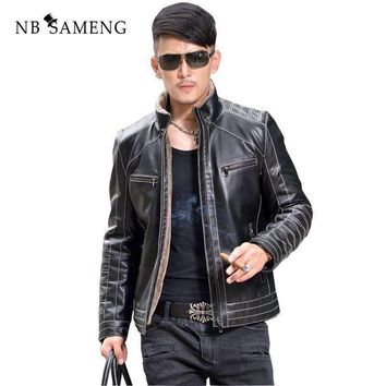 2018 New Winter Warm Motorcycle Business Casual Mens Sheepskin Leather Jackets Coats Fur Collar Men Genuine Leather Jacket