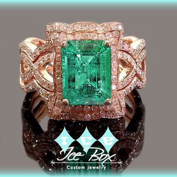 Cultured Included Emerald Engagement Ring 8 x 10mm 3.5ct Cultured Emerald in a 14k Rose Gold Diamond Halo Setting with two matching bands