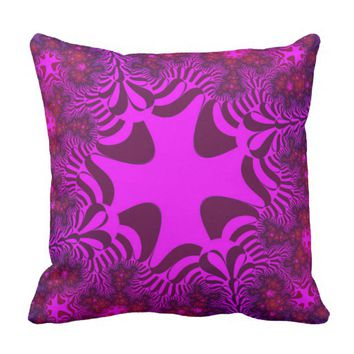 Pink Passion Rose Star Throw Pillow