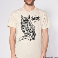 Owl Shirt Grammar Shirt Who Whom Men's Shirt Men's T-Shirt English Teacher Gift for Teachers Editor Cool Funny T Shirt Man Typography Tshirt