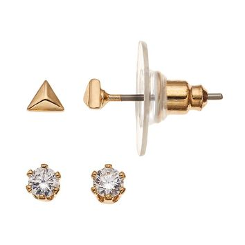 LC Lauren Conrad Triangle Stud Earring Set (Yellow)