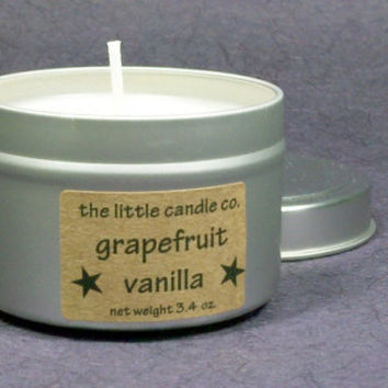 Grapefruit Vanilla Soy Candle Tin - Hand Poured and Highly Scented Container Candles