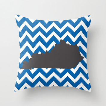 University of Kentucky, UK pillow cover, Kentucky pride, chevron print, hand drawn illustration, college football, sorority gift