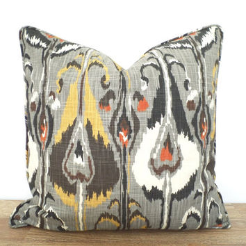 Gray ikat pillow cover 20x20, dark grey sofa cushion case Robert Allen fabric, modern pillow sham dorm room decor, ikat bed pillow piping