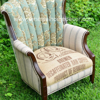 "Custom Order - Vintage Upholstered Accent Chair - ""Ruth's Blue Lady Chair"" - SOLD"
