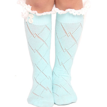 baby kids girl crochet knitted  button Leg warmers infant socks Baby Wear/baby boot cuff socks