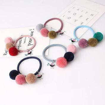 Korean Artificial Fake fur pompom Ball Elastic Hair Band gum Ponytail Holder Girls Hair Clip Headband Hair Accessories Gift