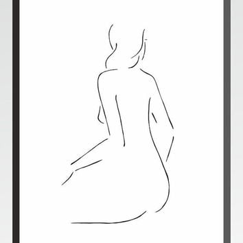 Minimalist nude art print. Black and white line drawing. Female figure from back. Woman sitting illustration.