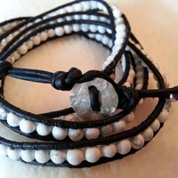 White Howlite, Black Leather Boho Wrap Bracelet