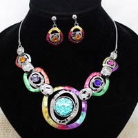 High quality Luxury rhinestone hematite jewelry sets trendy party bridal choker necklaces earrings sets for women free shipping