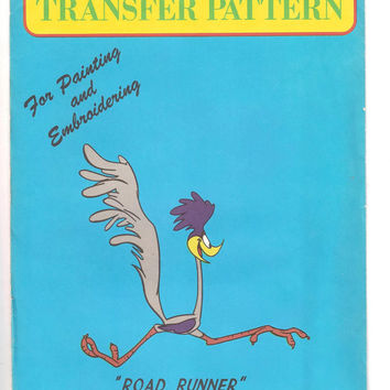 Vintage Road Runner Vogart Transfer Pattern, Uncut, Warner Bros, Iron On, Embroidery, Painting, No. 3007, 1970s, Arts, Crafts