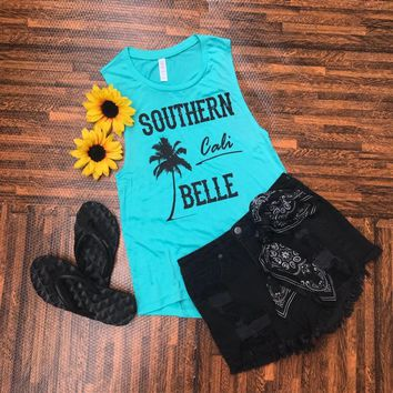 """SOUTHERN Cali BELLE Teal"" Women's Muscle Tank"