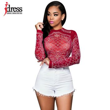 Hambelela Red/ Blue/ Black Women Long Sleeve Sequin Bodycon Tops Shirt Sexy Sheer Mesh Women Clothing Fashion Club Party Wear