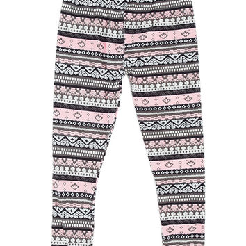 Girl's Beautiful Mixed Color Elaborate Tribal Pattern Print Leggings - Black Pink