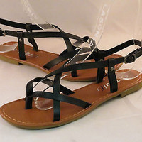 New Women Summer Gladiator Strappy Flat Flip Flops Sandals Shoes  Free Shipping