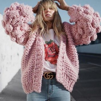 Autumn And Winter New Style Blogger Handmade Ball Lantern Sleeves Lazy Loose Knit Sweater Cardigan Jacket