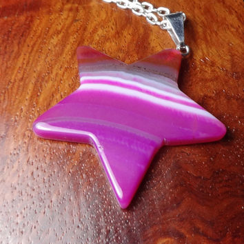 Star Necklace - Pink Agate Slice Pendant (B3B) Polished Smooth Stone