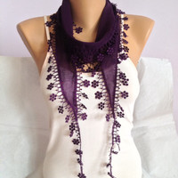 Purple Scarf - Deep Purple Lace Scarf - Floral Lace Scarf - Wedding Scarf - Bridesmaid Scarf - Bohemian Scarf - Boho Fashion