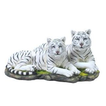 Two White Tigers Lying Together Statue - 8355