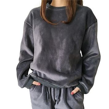 Very good quality velvet hoody woman long sleeve autumn winter thick velour top O-neck female gray black smooth sweatshirt loose