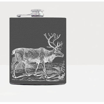 Deer hip flask - Gift for men - Gift for him - Hip flask - Unique gift for men - 21 birthday gift - Whiskey - Alcohol -Black - Funny -Liquor