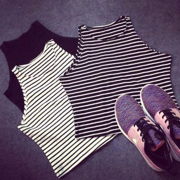Chenier OPAL FERRIE - New Striped/Solid Cropped Tank Top