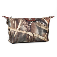Realtree?? Camouflage Fabric Cosmetic Bag w/ Faux Leather Trim - Camouflage/Brown Trim Color: Camouflage/Brown Trim
