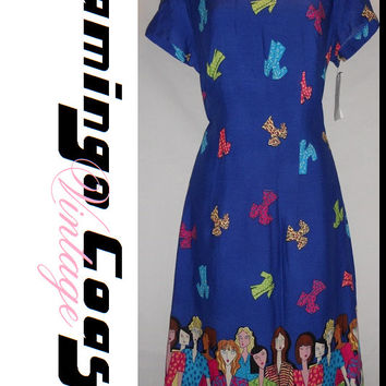 Vintage 80s Abstract Fashion Girls Print Dress Royal Blue Size 6 All Over Print Neon Bright Funky New Old Stock