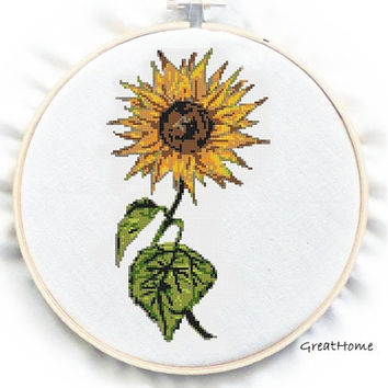Retro SunFlower  Cross Stitch Pattern, PDF counted chart, No.74, Instructions