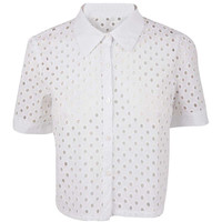 White Broaderie Short Sleeved Shirt at Fashion Union