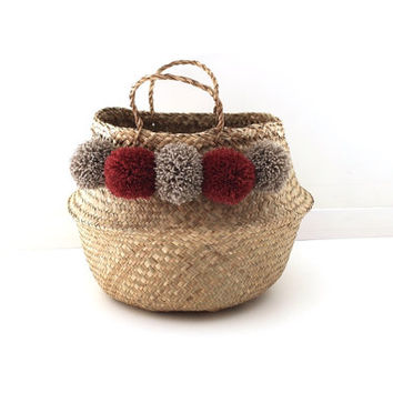 Large Thai basket with red PomPoms blood and taupe