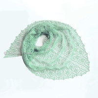 Mint linen shawl lace wrap hand knit scarf women triangular gift - MADE to ORDER