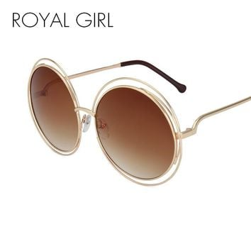 ROYAL GIRL NEW High Quality Elegant Round Wire Frame Sunglasses Women Mirror gradient Glasses shades Oversized Eyeglasses ss076
