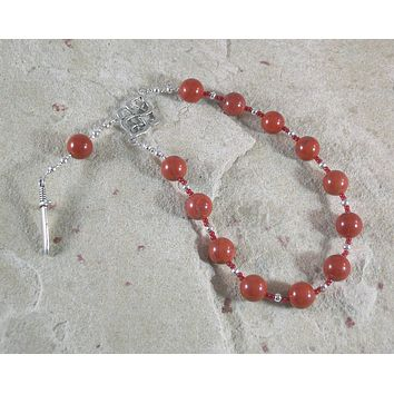 Ares Pocket Prayer Beads in Red Jasper: Greek God of War, Battle, Courage, Patron of Soldiers