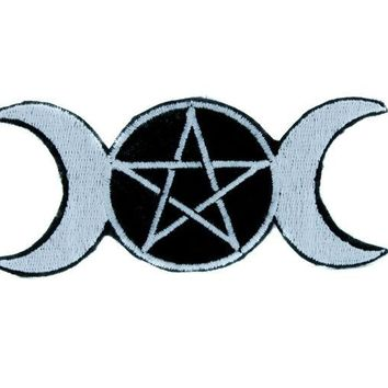 ac spbest Triple Goddess Moon Wicca Pentagram Patch Iron on Applique Clothing Witchcraft