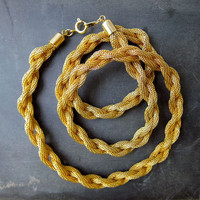 Vintage 80s braided gold necklace. chunky gold necklace. gold woven bracelet.