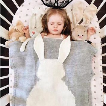 Big Rabbit Ear Swaddling Knitted Wrap Baby Blanket
