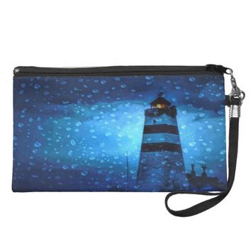 Blue nautical night with lighthouse and drops wristlet