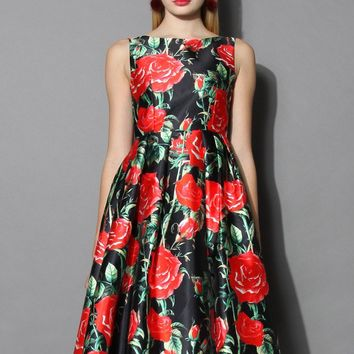 Rosy Night Print Prom Dress