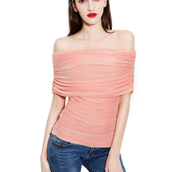 Light Pink Ruched Off Shoulder Top